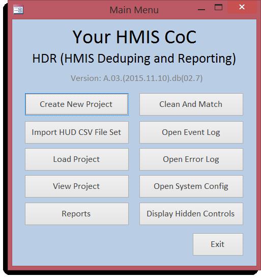 HDR Main Menu