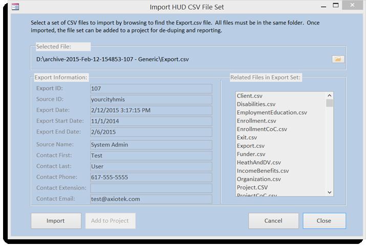 Import HUD CSV Files